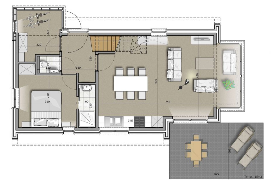 Kindervilla Luxe 6 - België - West Vlaanderen - 6 personen - plattegrond
